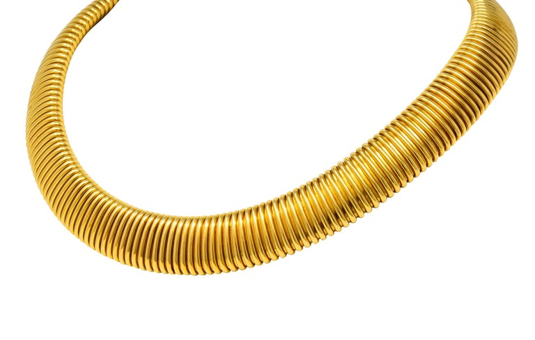 Contemporary Carlo Weingrill Vintage Italian 18 Karat Yellow Gold Tubogas Collar Necklace For Sale