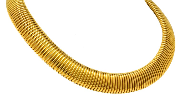 Carlo Weingrill Vintage Italian 18 Karat Yellow Gold Tubogas Collar Necklace In Excellent Condition For Sale In Philadelphia, PA