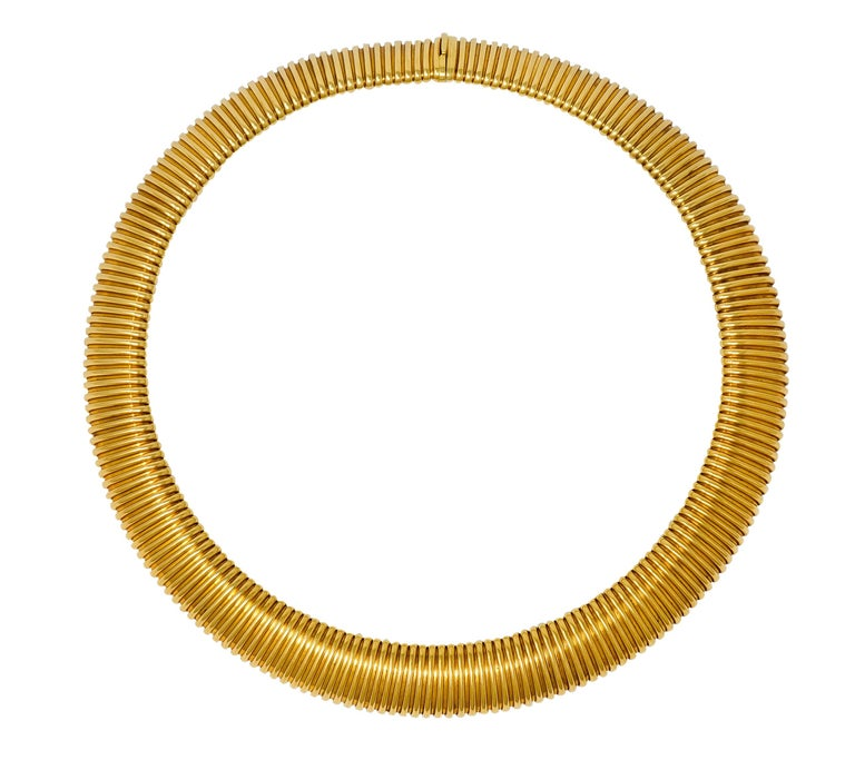 Carlo Weingrill Vintage Italian 18 Karat Yellow Gold Tubogas Collar Necklace For Sale 3