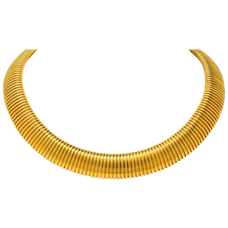 Carlo Weingrill Vintage Italian 18 Karat Yellow Gold Tubogas Collar Necklace For Sale