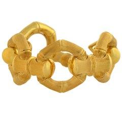 Carlo Weingrill Vintage Reversible Bamboo Link Gold Bracelet