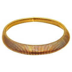 Carlo Weingrill Vintage Yellow Gold Tubogas Collar Necklace