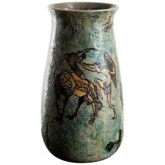Carlo Zauli Midcentury Mythological Turquoise Glazed Ceramic Italian Vase, 1950s