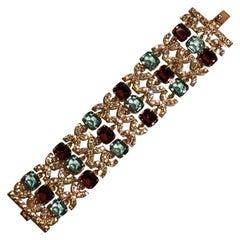Carlo Zini Aqua & Amber Crystals Bracelet
