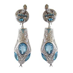 Carlo Zini Aqua Snake Earrings