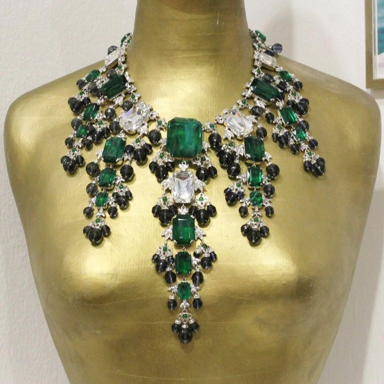Fantastic masterpiece by Carlo Zini One of the world greatest bijoux designers Large collier Completely handmade Swarovski crystals Mervellous creation of  emerald like crystals and sapphire faceted boules Zyrcons 100% Artisanal work Worldwide