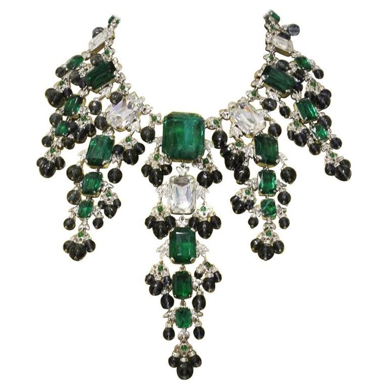 Carlo Zini Emeralds Maxi Collier For Sale