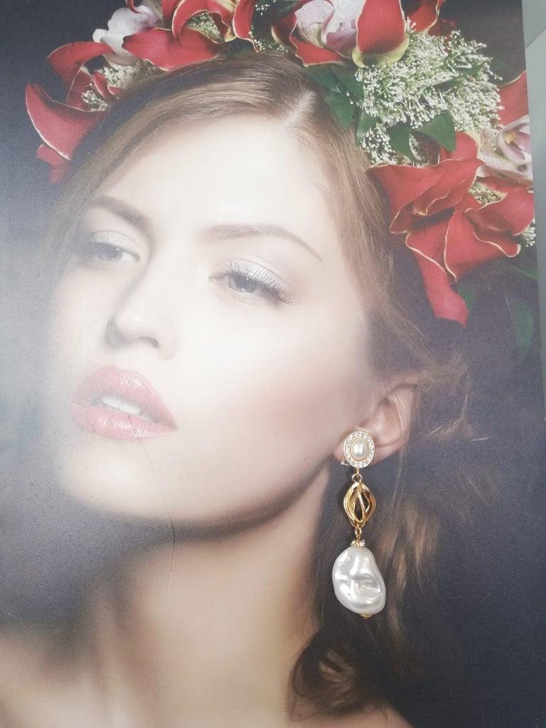 Mixed Cut Carlo Zini Milano Baroque Pearl Earrings For Sale