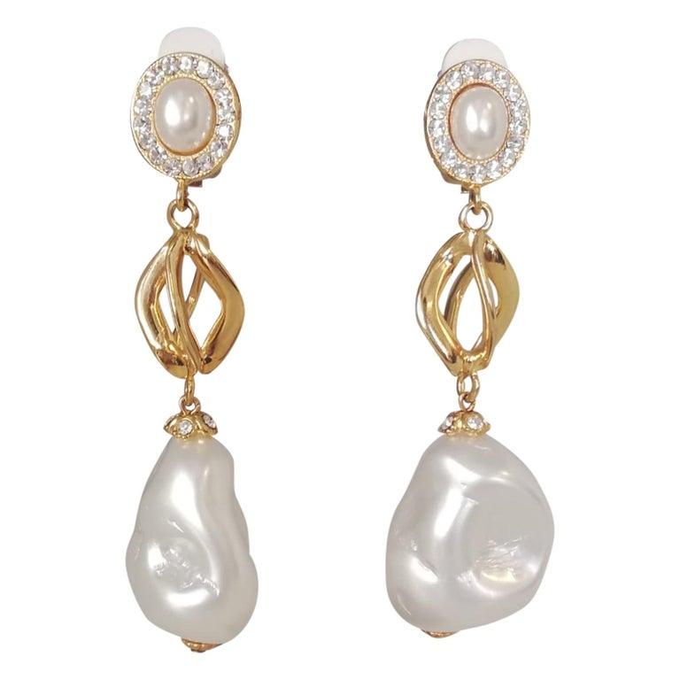Carlo Zini Milano Baroque Pearl Earrings For Sale