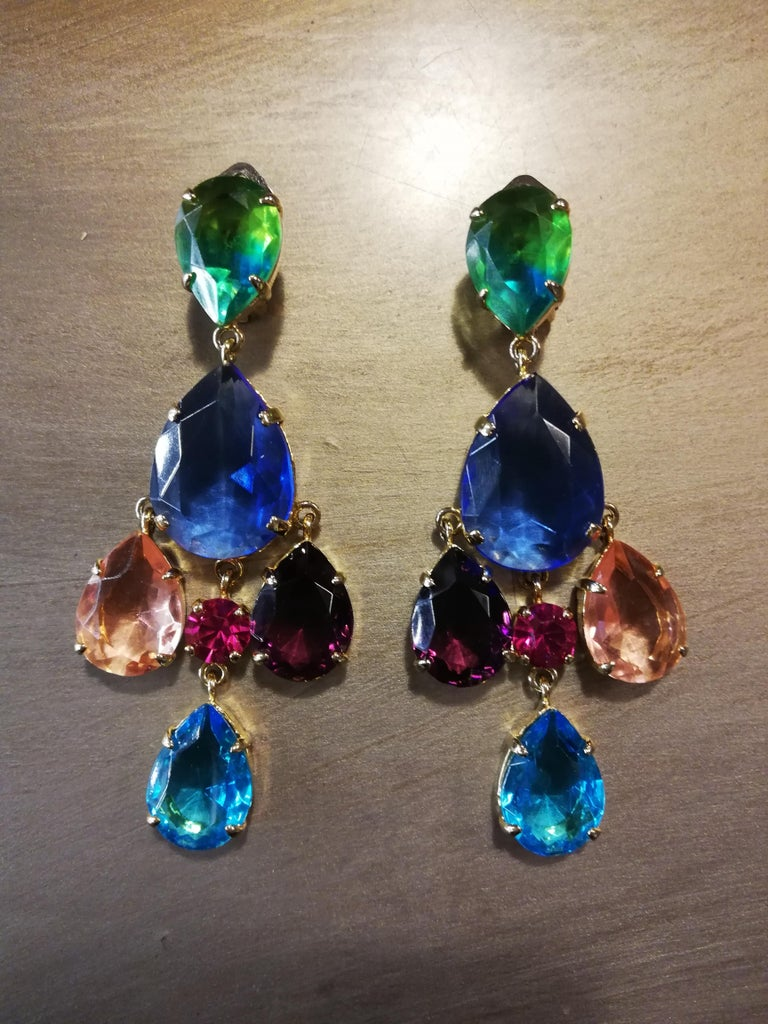 Fantastic earrings by Carlo Zini Non allergenic rhodium 18 KT gold dipped Amazing combinations of colored crystals  Clip on closure, pierced on request Length cm 8 (3.14 inches) 100% Artisanal work, made in Milan Worldwide express shipping included