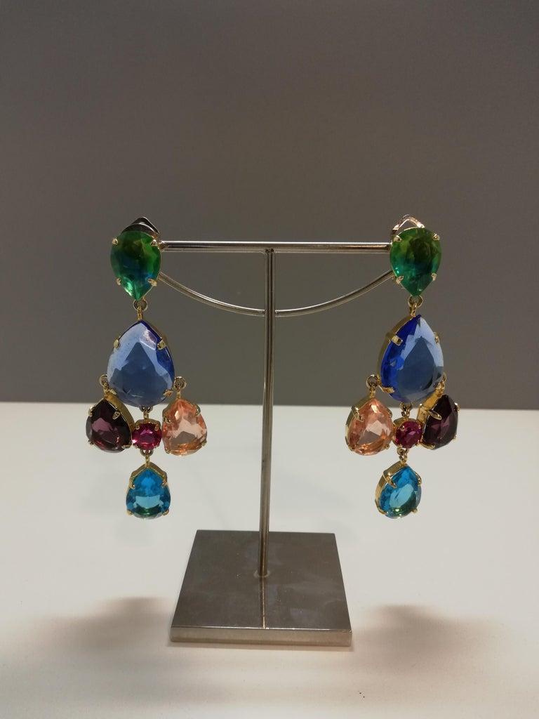Mixed Cut Carlo Zini Milano Crystal Earrings For Sale