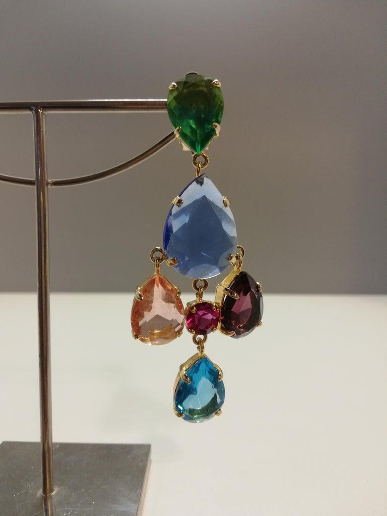 Carlo Zini Milano Crystal Earrings In New Condition For Sale In Gazzaniga (BG), IT