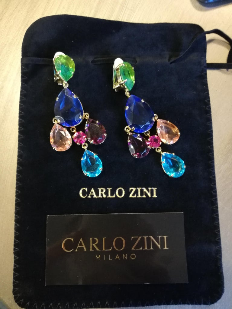 Carlo Zini Milano Crystal Earrings For Sale 2