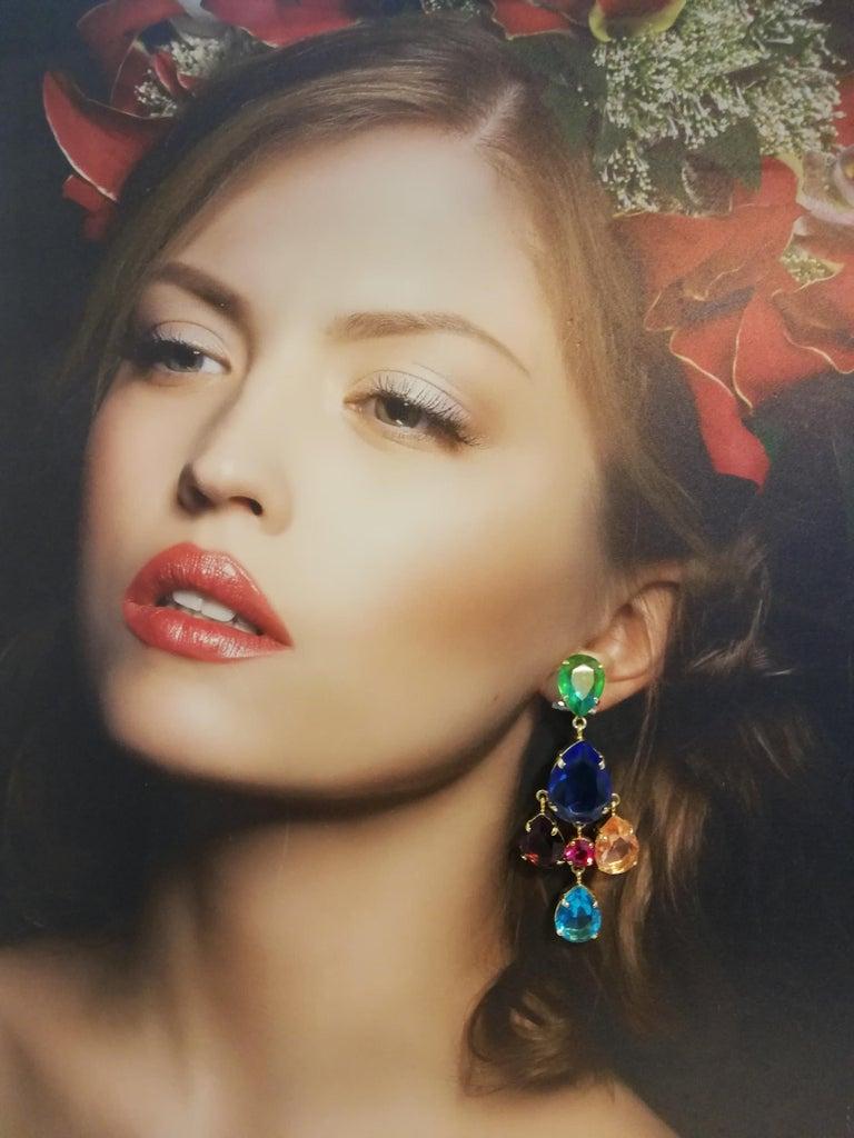 Carlo Zini Milano Crystal Earrings For Sale 3