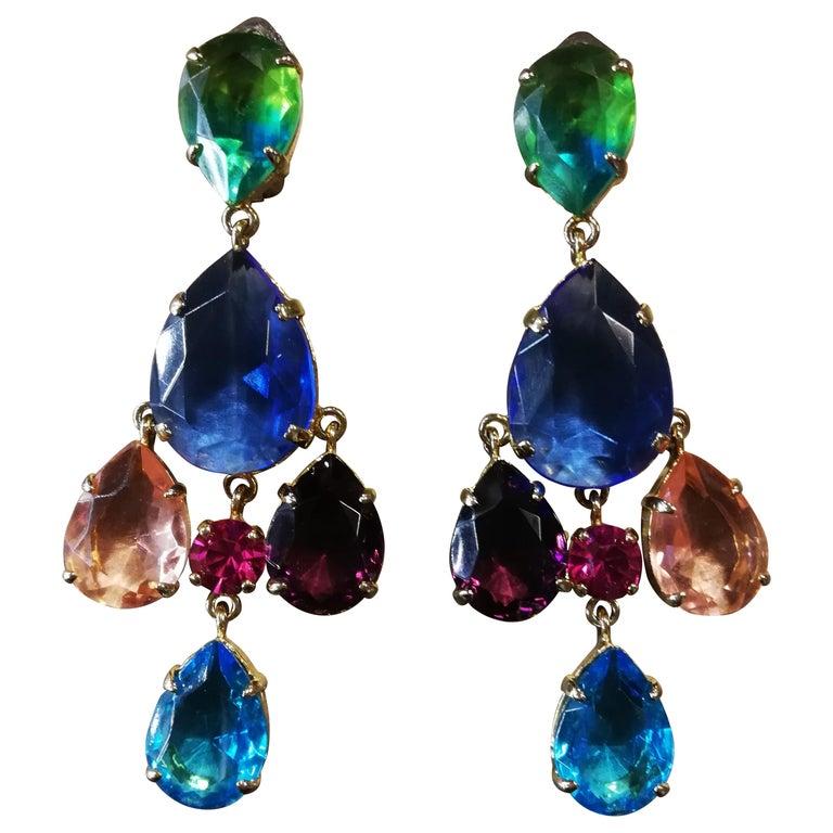 Carlo Zini Milano Crystal Earrings For Sale