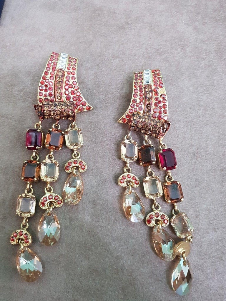Carlo Zini Milano Earrings Vintage Costume Jewelry Italy 1990s