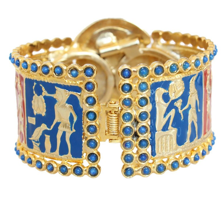 Fantastic masterpiece by Carlo Zini One of the world greatest bijoux designers Non allergenic rhodium 18 Kt Gold dipped Amazing hand creation of beads, resins and colored elements Egypt theme Wrist cm 16 (6.29 inches) 100% Artisanal work Made in