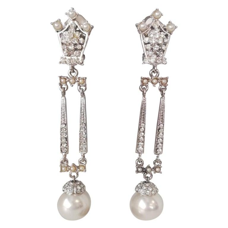 Carlo Zini Milano Pearl Earrings For Sale
