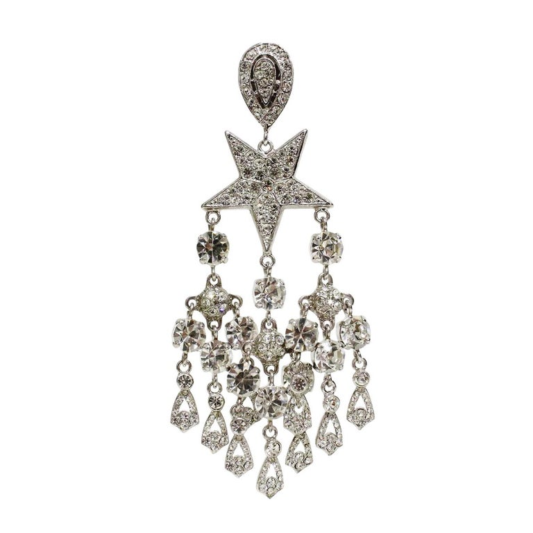 Super chic earrings by Carlo Zini Mervellous earrings on Stars theme Chandelier style Non allergenic  brass Rhodium  Wonderful construction of swarovski crystals 100% Artisanal work Made in Milan Clip on, pierced on request Worldwide express
