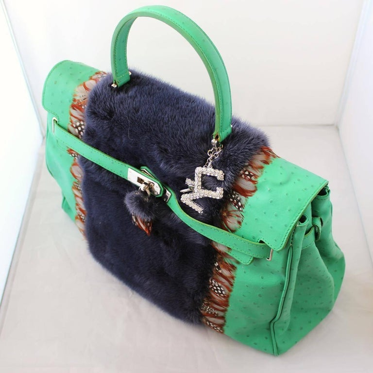 Carlo Zini Ostrich Printed Leather bag with Mink In New Condition For Sale In Gazzaniga (BG), IT