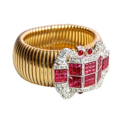 Carlo Zini Tubogas Bracelet with Red Strass and Crystal