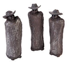 Los Tres Señores / Ceramics Black Clay Mexican Folk Art
