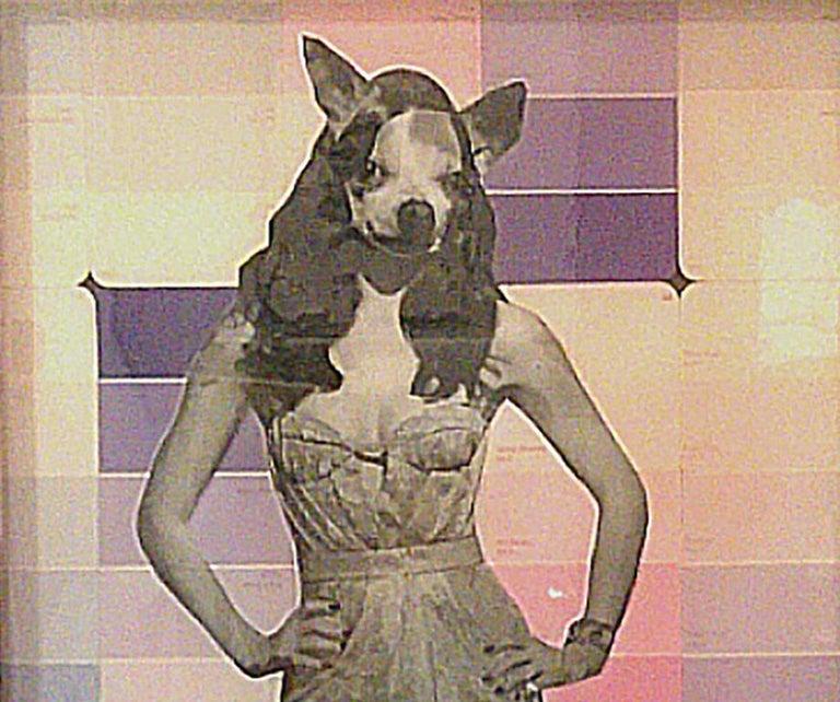 Chihuahua Woman - Pink, Mixed Media on Glass - Contemporary Mixed Media Art by Carlos Alejandro