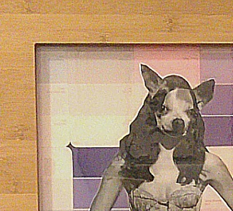 Chihuahua Woman - Pink, Mixed Media on Glass For Sale 1