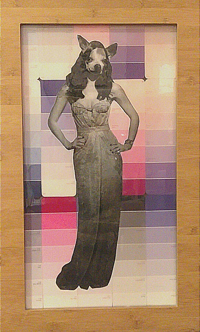 Chihuahua Woman - Pink, Mixed Media on Glass - Mixed Media Art by Carlos Alejandro