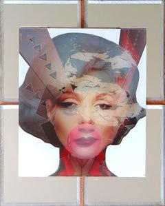 """Marilyn"" Mixed Media on Wood with Mirror Inlay , 2017"