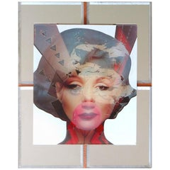"""Marilyn"" Mixed-Media on Wood with Mirror Inlay"