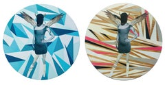 Untitled No.10 and Untitled No.11 Diptych, Mixed Media on Wood