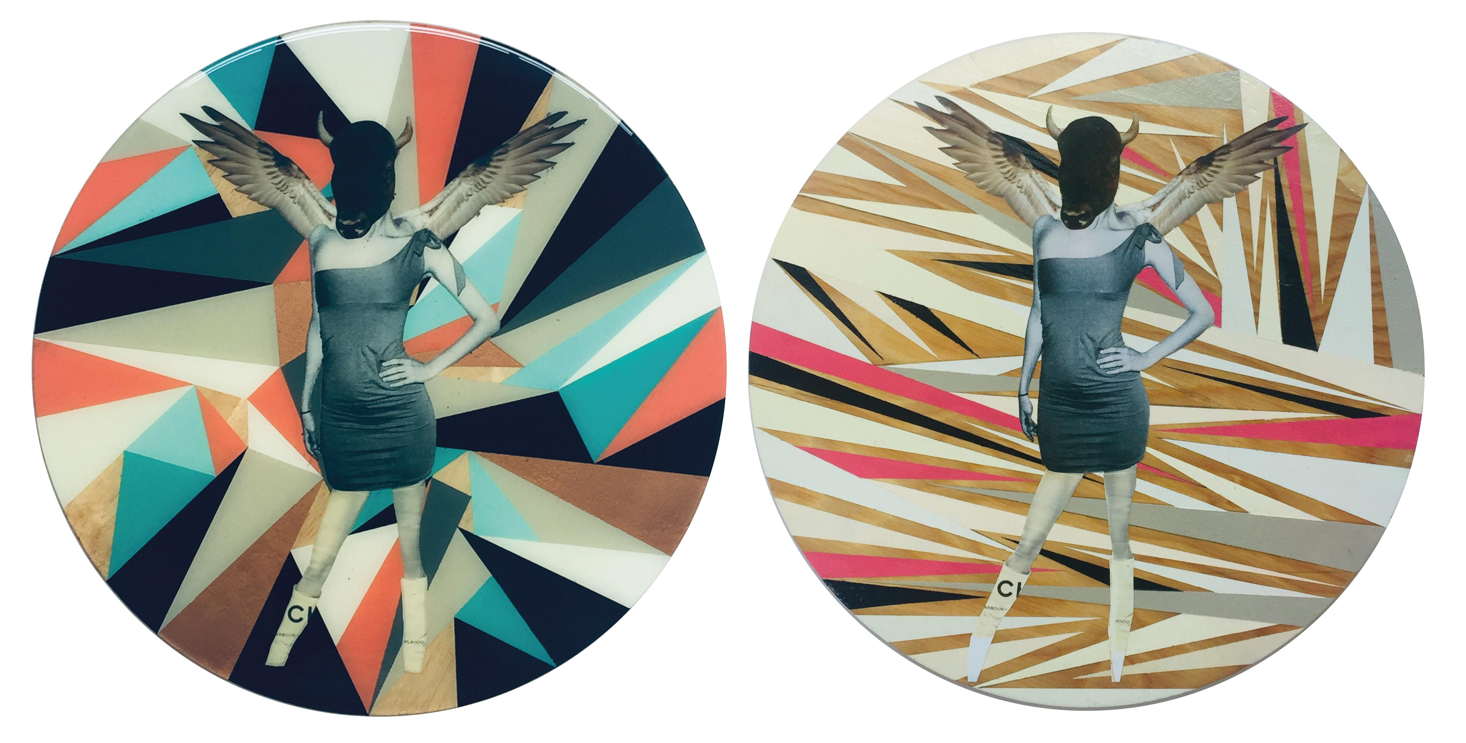 Untitled No.9 and Untitled No.11 Diptych, Mixed Media on Wood
