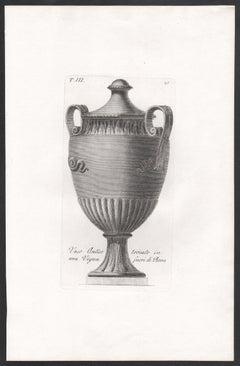 4 Classical Roman vases, early 19th century Italian Grand Tour engraving, c1820