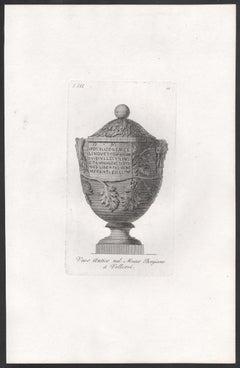 8 Classical Roman vases, early 19th century Italian Grand Tour engraving, c1820