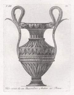 Classical Roman vase, early 19th century Italian Grand Tour engraving, c1820