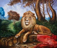 Cuban Contemporary Art by Carlos Sablon - Le Lion et Le Rat
