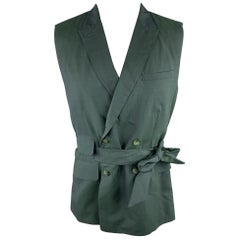 CARLOS CAMPOS Size 38 Forest Green Solid Wool Double Breasted Vest