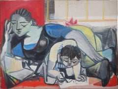 Tribute to Picasso : Francois and Claude - Original Oil on Canvas, Handsigned
