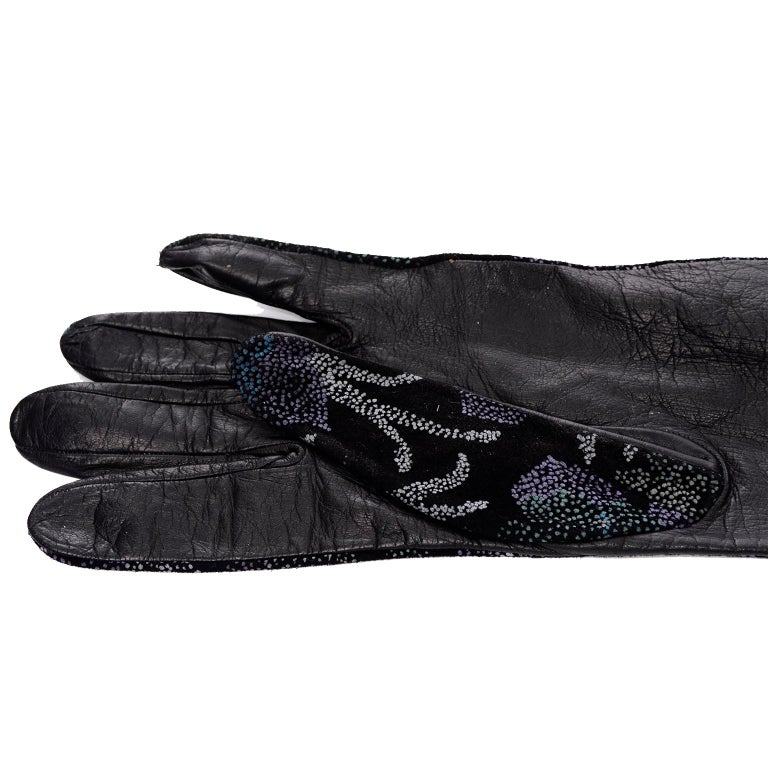 Black Carlos Falchi Blue Leather Opera Gloves w/ Pointillism Style Floral Designs 7 For Sale