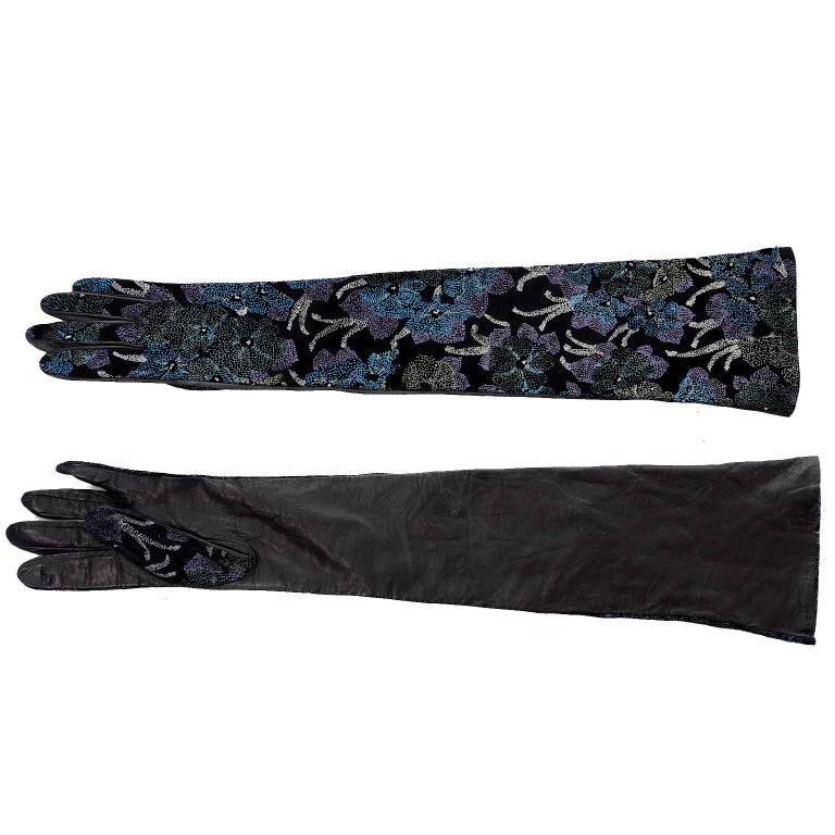Women's Carlos Falchi Blue Leather Opera Gloves w/ Pointillism Style Floral Designs 7 For Sale