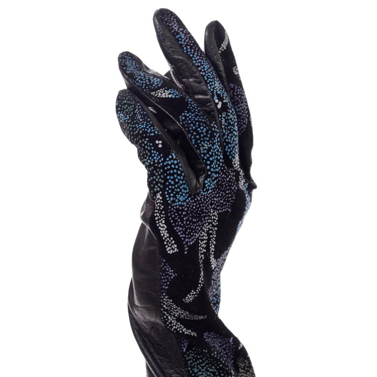 Carlos Falchi Blue Leather Opera Gloves w/ Pointillism Style Floral Designs 7 For Sale 1