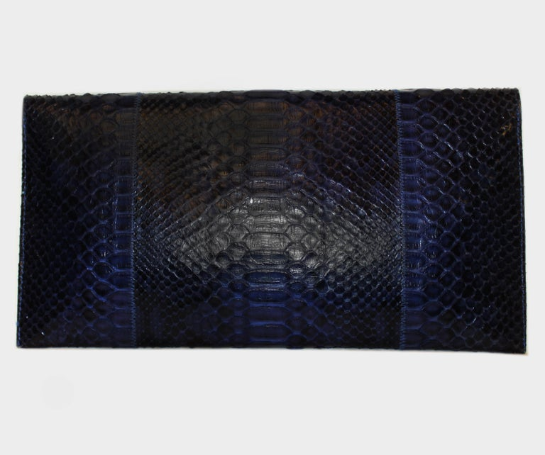 Carlos Falchi Blue Python Clutch Bag  3