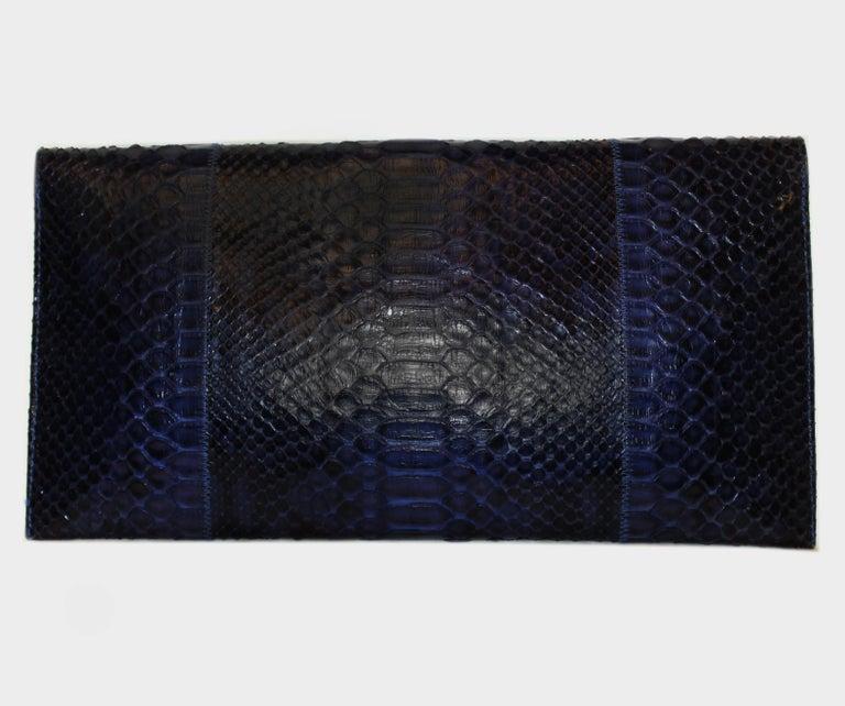 Black Carlos Falchi Blue Python Clutch Bag  For Sale
