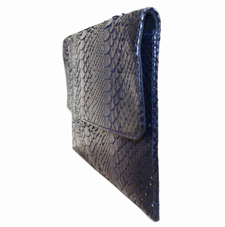 Carlos Falchi Blue Python Clutch Bag  In Excellent Condition For Sale In Palm Beach, FL