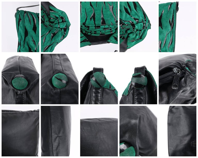 CARLOS FALCHI c.1980's Green Tiger Stripe Suede Leather Pleated Crossbody Bag For Sale 7