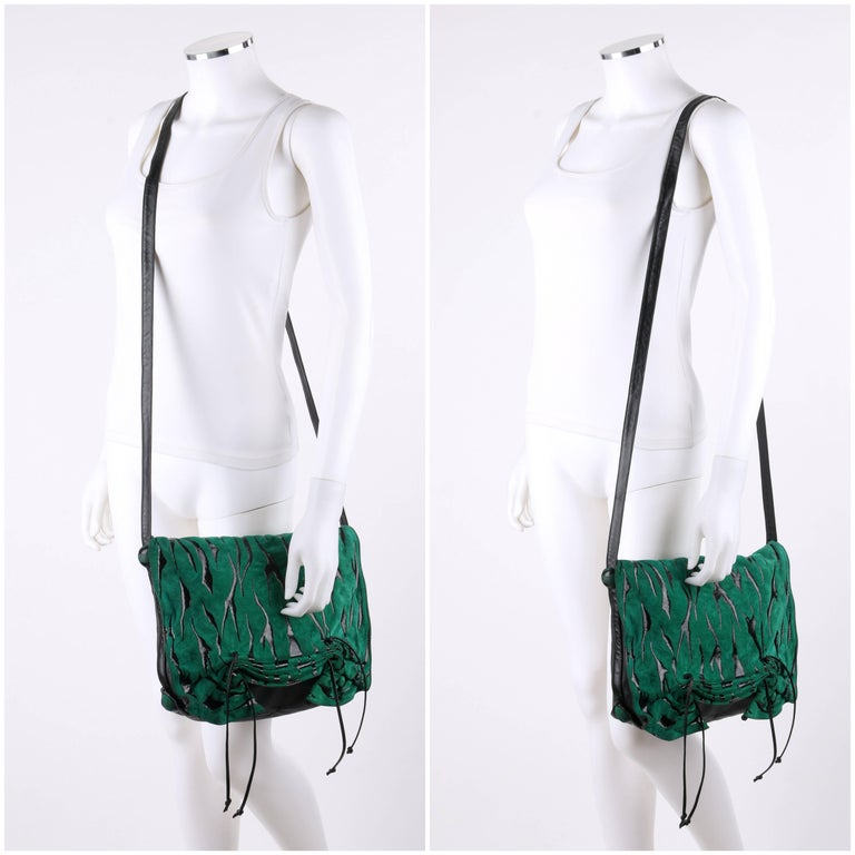 CARLOS FALCHI c.1980's Green Tiger Stripe Suede Leather Pleated Crossbody Bag In Excellent Condition For Sale In Thiensville, WI