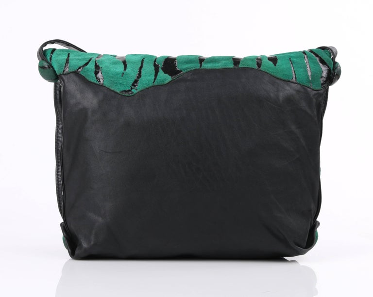 CARLOS FALCHI c.1980's Green Tiger Stripe Suede Leather Pleated Crossbody Bag For Sale 1