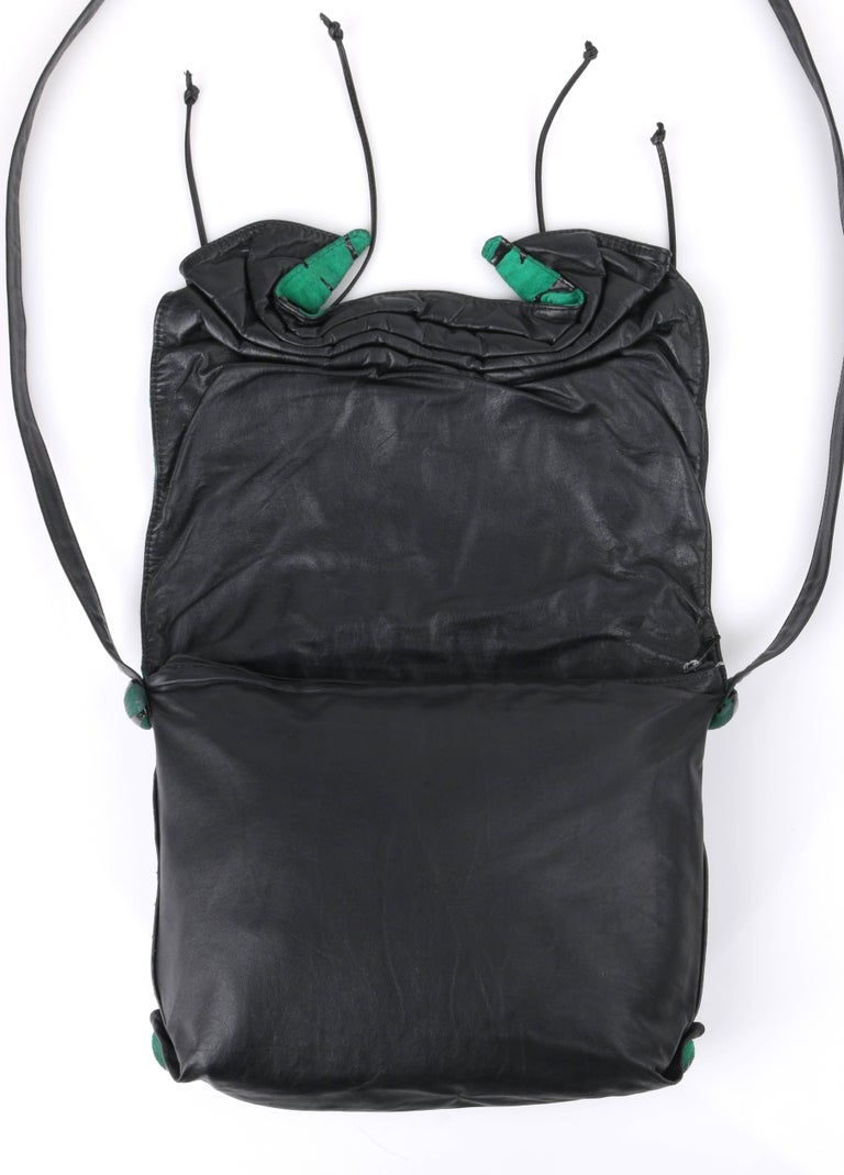 CARLOS FALCHI c.1980's Green Tiger Stripe Suede Leather Pleated Crossbody Bag For Sale 2