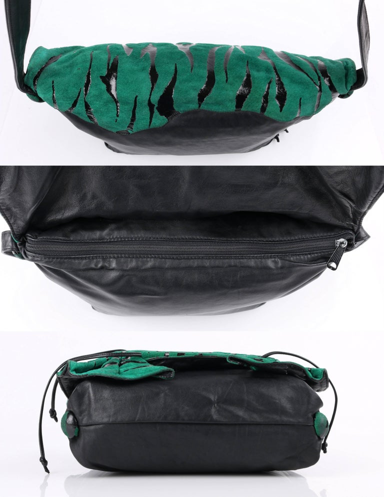 CARLOS FALCHI c.1980's Green Tiger Stripe Suede Leather Pleated Crossbody Bag For Sale 3